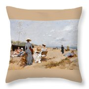 Painting On The Beach  Throw Pillow