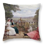 Painting On The Terrace Throw Pillow