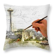 Painting Seattle Throw Pillow