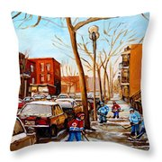Paintings Of Verdun Streets In Winter Hockey Game Near Row Houses Montreal City Scenes Throw Pillow by Carole Spandau
