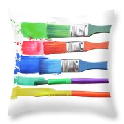 Paints And Brushes  Throw Pillow