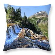 Paiota Falls - Glacier National Park Throw Pillow