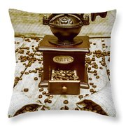 Pair Coffee Bean Bags Spilled In Front Of Grinder Throw Pillow