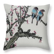 Pair Of Birds On A Cherry Branch Throw Pillow