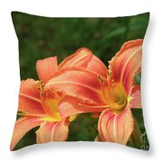 Pair Of Blooming Orange Lilies In A Garden Throw Pillow