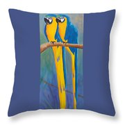 Pair Of Blue And Gold Macaws Throw Pillow