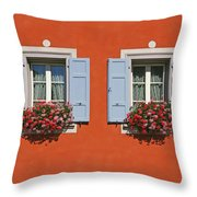 Pair Of Blue Shutters Throw Pillow
