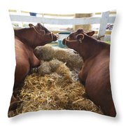 Pair Of Cows Throw Pillow