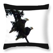 Pair Of Eagles In A Tree Throw Pillow