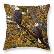 Pair Of Eagles In Autumn Throw Pillow