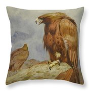 Pair Of Golden Eagles By Thorburn Throw Pillow