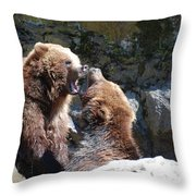 Pair Of Grizzly Bears Biting At Each Other Throw Pillow