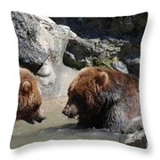 Pair Of Grizzly Bears Wading In A Shallow River Throw Pillow