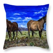 Pair Of Horses Painting Throw Pillow