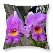 Pretty Purple Orchids Throw Pillow