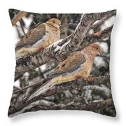Pair Of Morning Doves Throw Pillow