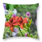 Pair Of Red Asiatic Lilies After A Rain Throw Pillow