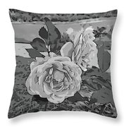 Pair Of Roses In Grayscale Throw Pillow