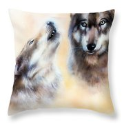 Pair Of Wolves Throw Pillow
