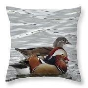 Paired Wood-ducks Throw Pillow