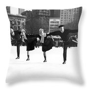 Pairs Skating In Central Park Throw Pillow