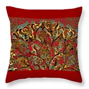 Paisley Fan In Dots  Throw Pillow