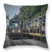 Pal Military Train Roll-by Throw Pillow