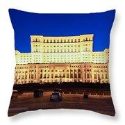 Palace Of Parliament At Night Throw Pillow