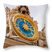 Palace Of Versaille Exterior Clock Throw Pillow