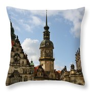 Palace Square In Dresden Throw Pillow by Christine Till