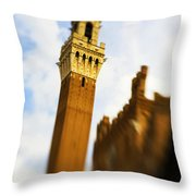 Palazzo Pubblico Tower Siena Italy Throw Pillow