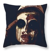 Pale Ghost With Black Eyes Thinking Up Bad Idea Throw Pillow