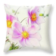 Pale Pink Anemone Throw Pillow