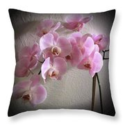 Pale Pink Orchids B W And Pink Throw Pillow