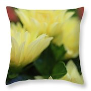Pale Soft And Yellow Flower Abstract At Sunset Throw Pillow