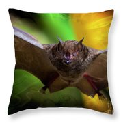 Pale Spear-nosed Bat In The Amazon Jungle Throw Pillow