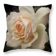 Pale Yellow Rose After The Rain - Glow Throw Pillow