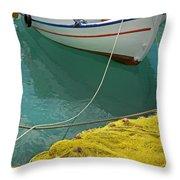 Paleohora Fishing Boat Throw Pillow