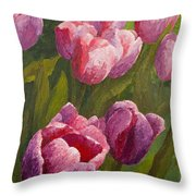 Palette Tulips Throw Pillow