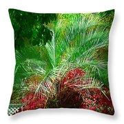 Palm And Azaleas Throw Pillow