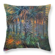 Palm And Egret Throw Pillow