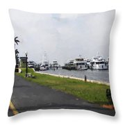 Palm Beach Marina Throw Pillow