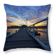Palm Beach Wharf At Dusk Throw Pillow