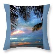 Palm Curtains Throw Pillow