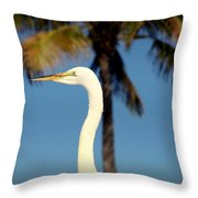 Palm Egret Throw Pillow