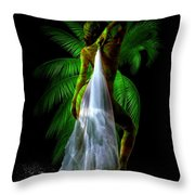 Palm Falls Throw Pillow