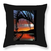 Palm Framed Sunset Throw Pillow