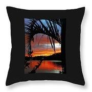 Palm Framed Sunset Throw Pillow