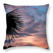 Palm Frond At Dusk Throw Pillow