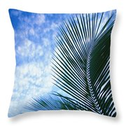 Palm Fronds And Clouds Throw Pillow